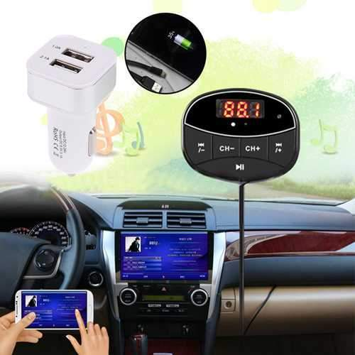 Bakeey Car Kit Hands Free TF Card Extend FM Music Blutooth Receiver Trasmitter Car Charger For Phone