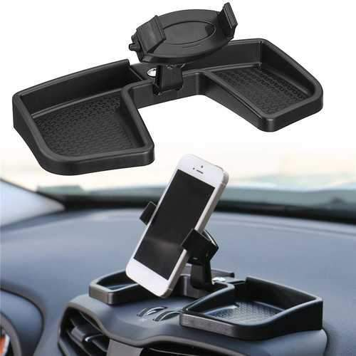 Universal 360 Degree Rotation Dashboard Phone Holder Stand with Storage Box for Mobile Phone
