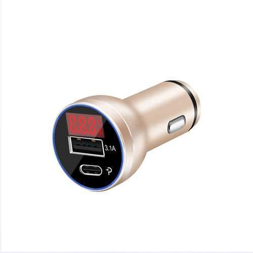 Bakeey D9P 18W Dual Ports PD Type C Fast Car Charger With LED Digital Voltage Current Monitor