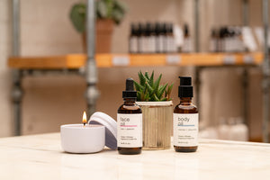 Spa Day Gift Set with Rosemary Face and Body Oils