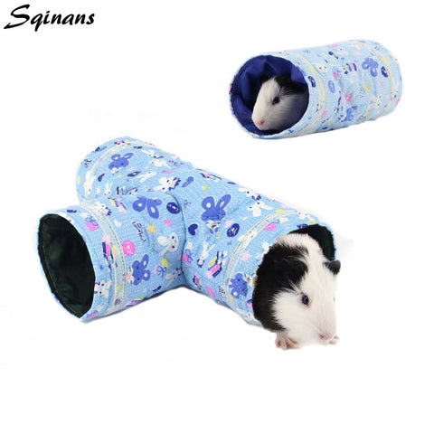 Sqinans Small Animal Hamster Toy Tunnel 2 Designs Cartoon Print Guinea pig Rabbit Nest Bed Pet Tube Bed For Squirrel Hedgehog