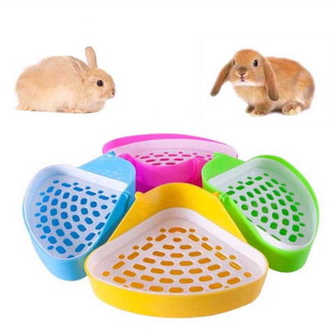 Pet Toilet Triangle Shape Stable Fixable Tray Potty Trainer Urine Box For Rabbit Hamster Chinchilla Small Pets