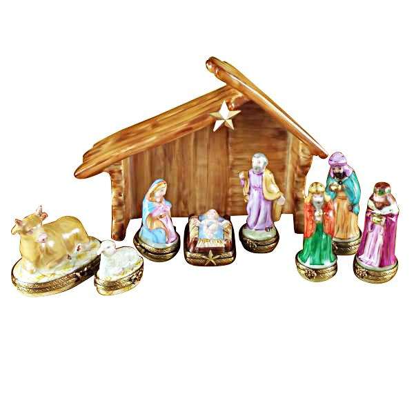 EIGHT PIECE MINI HINGED NATIVITY W/ PORCELAIN STABLE