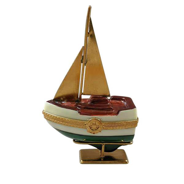 SAILBOAT W/ BRASS SAILS AND STAND WITH REMOVABLE ANCHOR