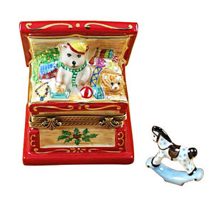 CHRISTMAS TOY CHEST W/ ROCKING HORSE