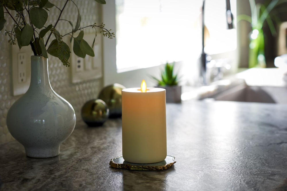 "LightLi Touch On/Off Moving Flame 3"" x 6"" Pillar LED Candle, Real Wax, Vanilla Honey Scent, Ivory"