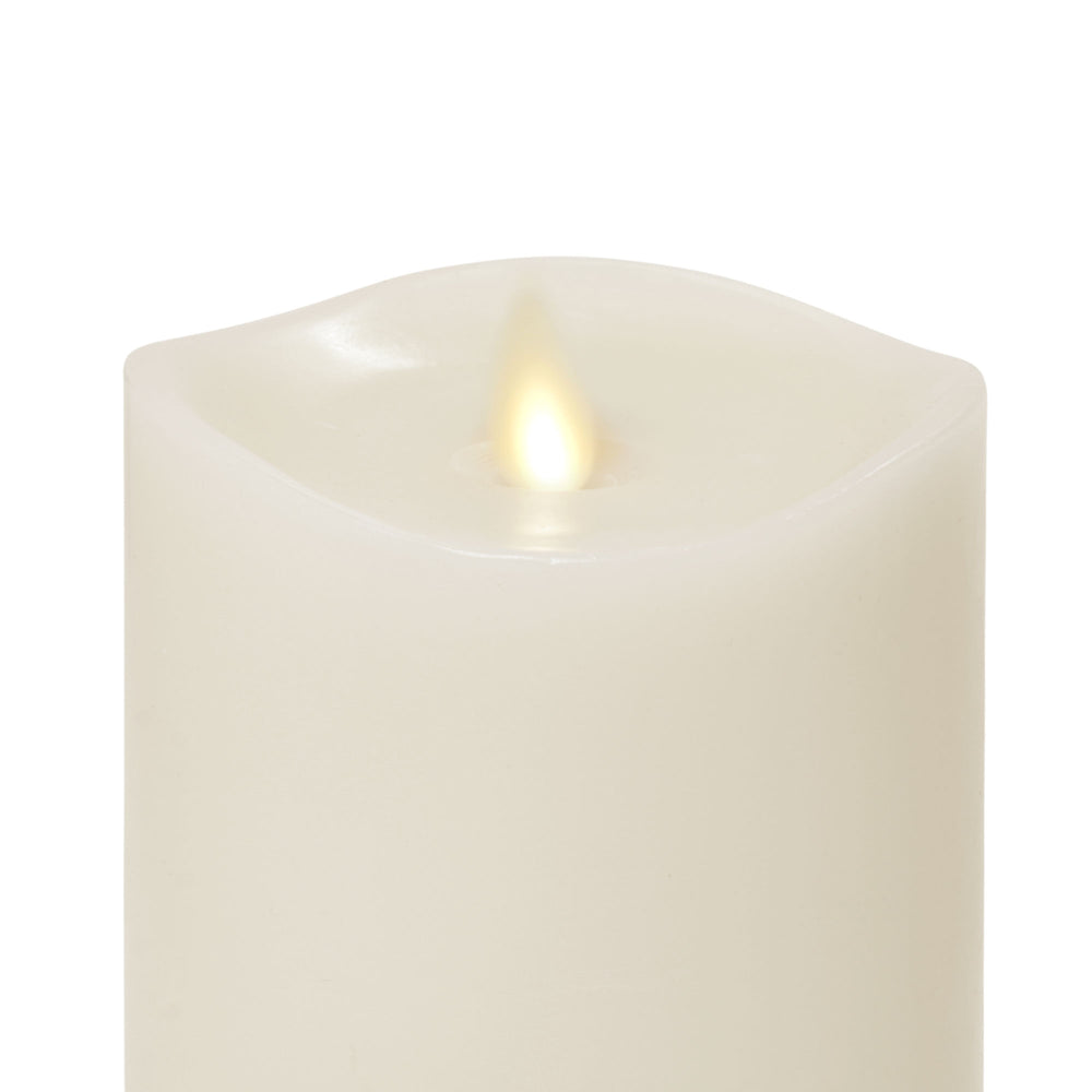 "Matchless Candle Co Moving Flame 3"" X 5"" Pillar LED Candle, Melted Edge, Real Wax, Honey Vanilla Scented, Ivory"