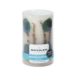 "Matchless Candle Co Push Button 3.5"" x 6"" Pillar LED Candle Spring Eucalyptus Embedded, Lavender Vanilla, Real Wax, Ivory"