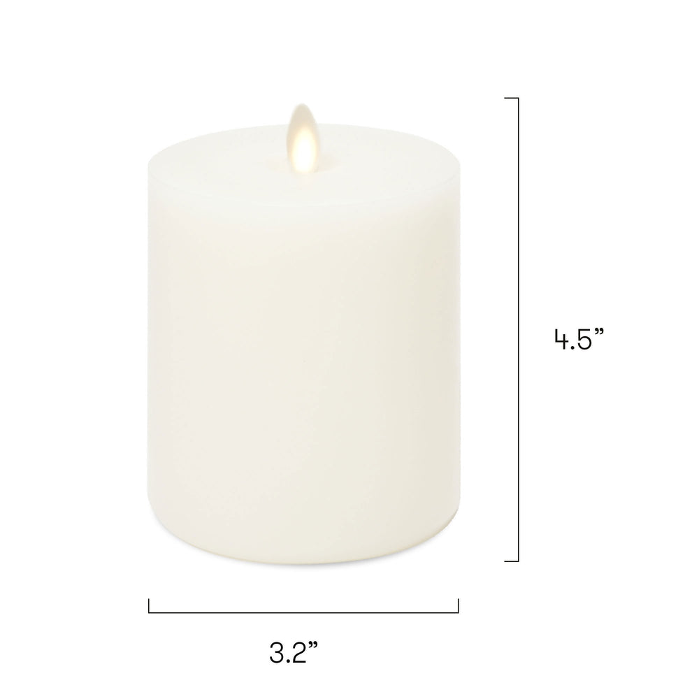 "LightLi Touch On/Off Moving Flame 3.25"" x 4.5""Pillar LED Candle, Real Wax, Vanilla Honey Scent, Ivory"