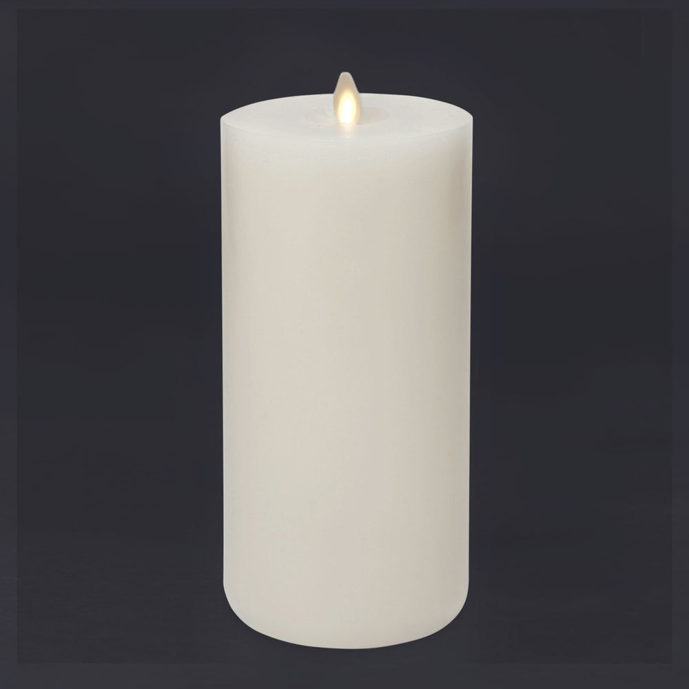 LightLi Wick to Flame Ultra Realistic Pillar LED Candle, Flat / First Lit Edge, Real Wax, Ivory (Tall) - Flicker and Glow