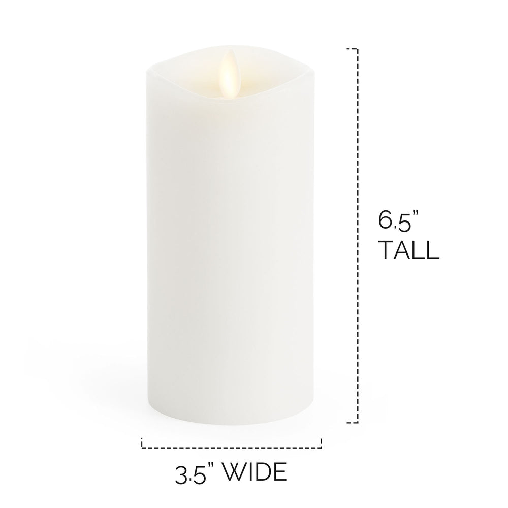 "Luminara Real-Flame Effect Pillar LED Candle, Melted Edge, Smooth Wax, Vanilla Honey Scent, White (Large, 6.5"") - Flicker and Glow"