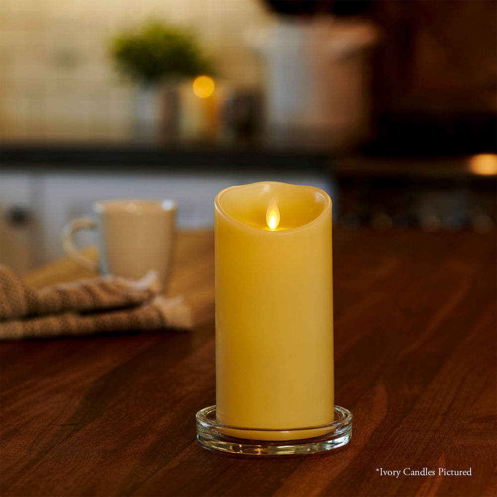 "Luminara Real-Flame Effect Pillar LED Candle, Melted Edge, Smooth Wax, Vanilla Honey Scent, Ivory (X-Large, 7.5"") - Flicker and Glow"