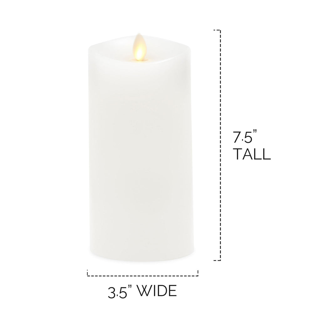 "Luminara Real-Flame Effect 3.5"" X 7.5"" Pillar LED Candle, Melted Edge, Unscented, Ivory"