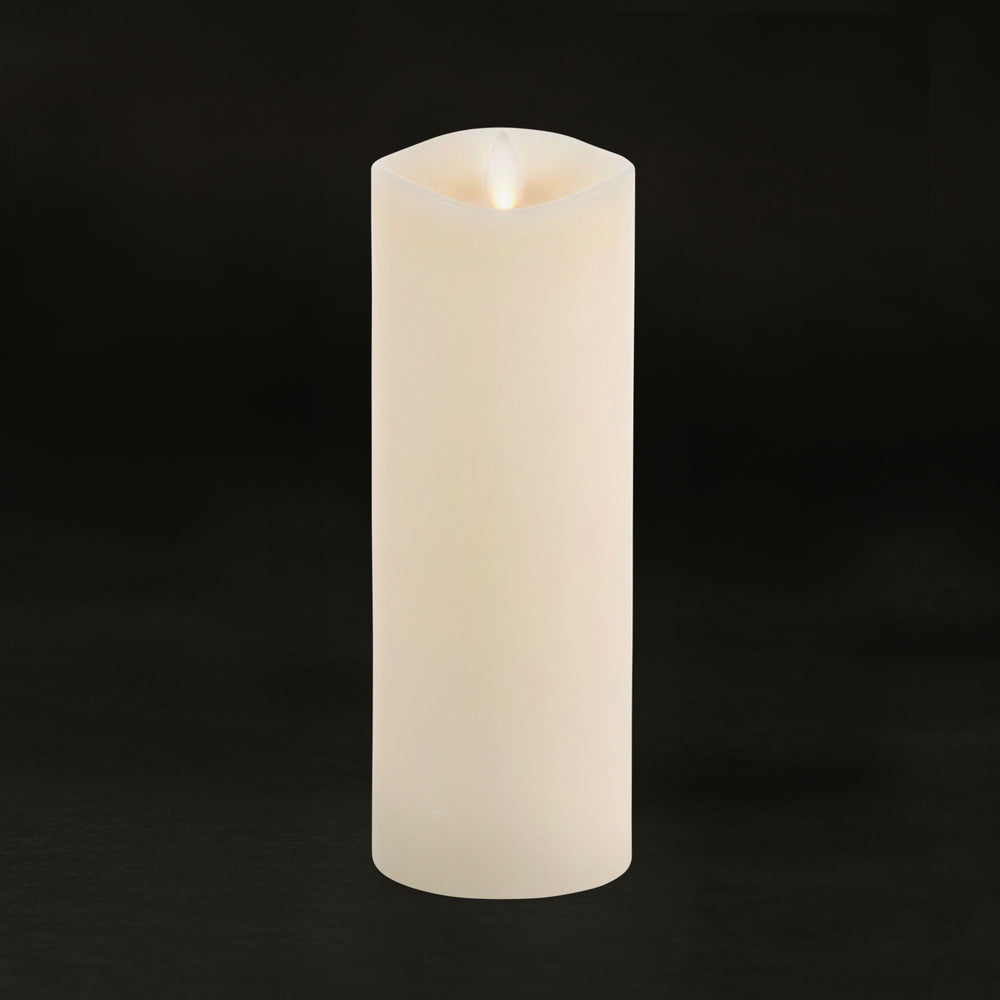Luminara Real-Flame Effect Pillar LED Candle, Melted Edge, Real Wax, Unscented, Ivory (Large) - Flicker and Glow