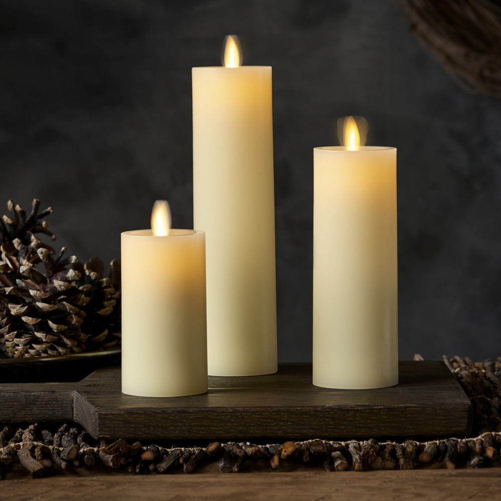 Luminara Real-Flame Effect Slim Pillar LED Candle, Recessed Edge, Real Wax, Unscented, Ivory (Medium) - Flicker and Glow