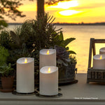 Luminara Outdoor Real-Flame Effect Pillar LED Candle, Melted Edge, Unscented, Ivory (Short) - Flicker and Glow