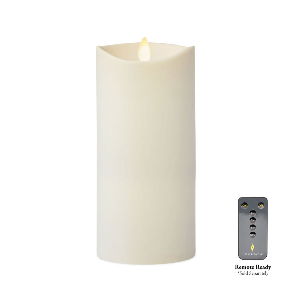 Luminara Outdoor Real-Flame Effect Pillar LED Candle, Melted Edge, Unscented, Ivory (Tall) - Flicker and Glow