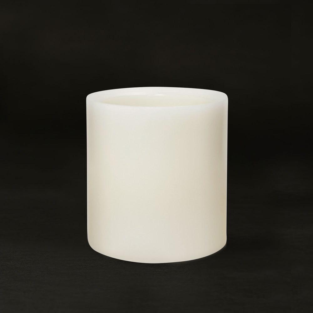 Matchless Candle Push Button LED Candle, Beveled Edge, Real Wax,Vanilla Honey Scent, Ivory (Small) - Flicker and Glow
