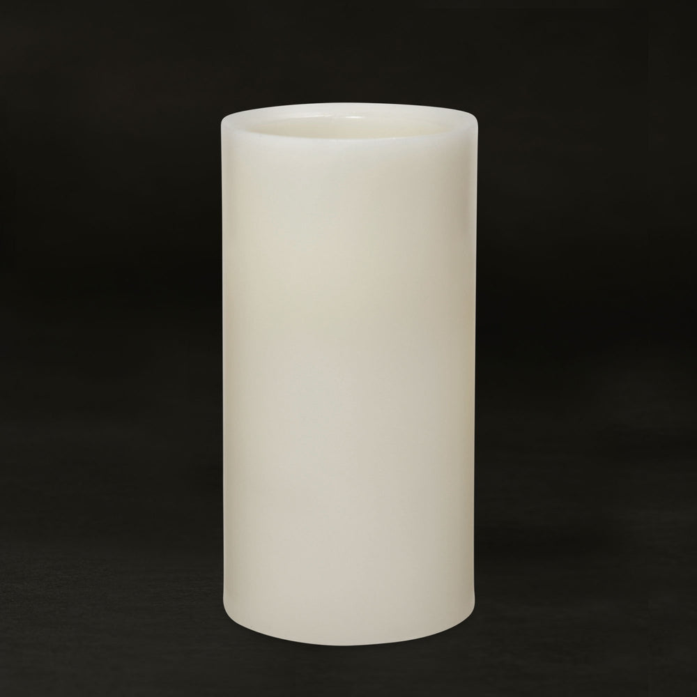 Matchless Candle Push Button LED Candle, Beveled Edge, Real Wax,Vanilla Honey Scent, Ivory (Medium) - Flicker and Glow