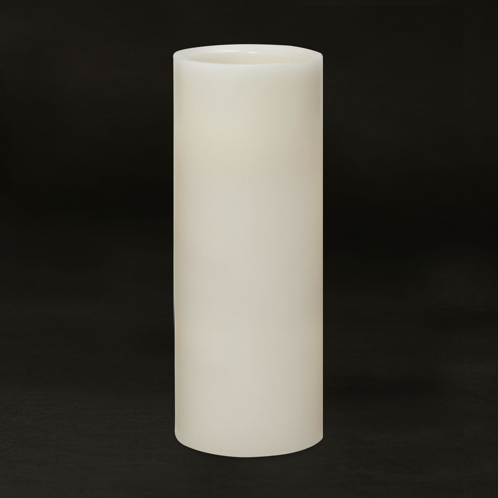 Matchless Candle Push Button LED Candle, Beveled Edge, Real Wax,Vanilla Honey Scent, Ivory (Large) - Flicker and Glow