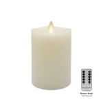 Matchless Candle Moving Flame Pillar LED Candle, Melted Edge, Real Wax, Unscented, Ivory (Small) - Flicker and Glow