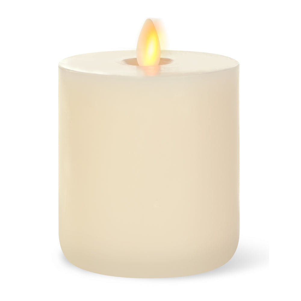 "LightLi Touch On/Off Moving Flame 4"" x 5"" Pillar LED Candle, Flat Edge, Vanilla Honey Scent, Ivory"