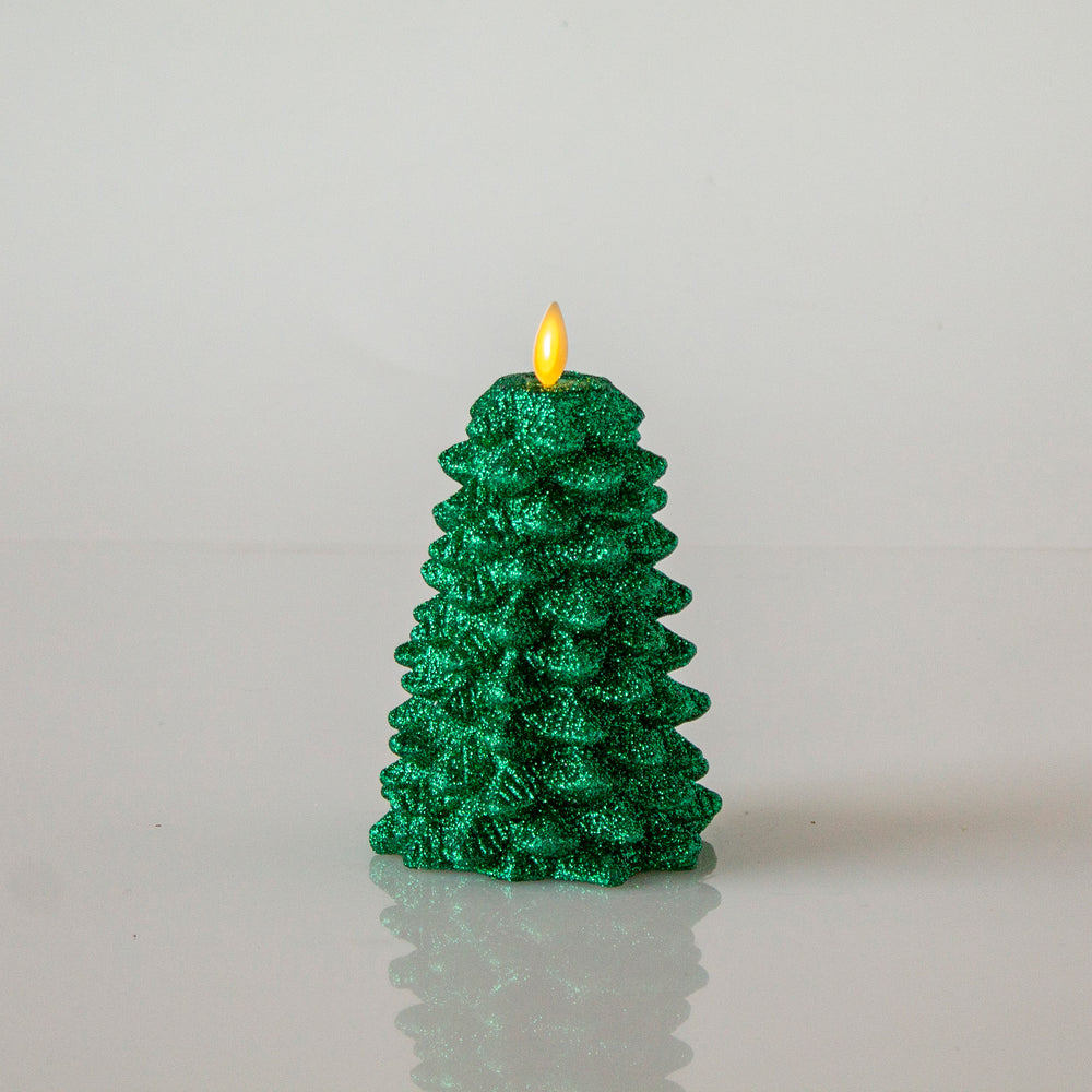 Matchless Candle Co  Moving Flame Glitter Christmas Tree Candle
