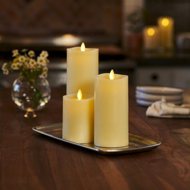 "Luminara Set of 3 (4"", 6"" & 8"") Flameless Candles w/ Remote-Ivory"