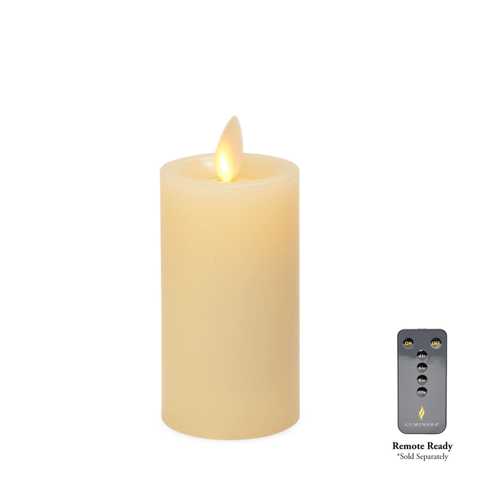 Luminara Real-Flame Effect Slim Pillar LED Candle, Recessed Edge, Real Wax, Unscented, Ivory (Small) - Flicker and Glow