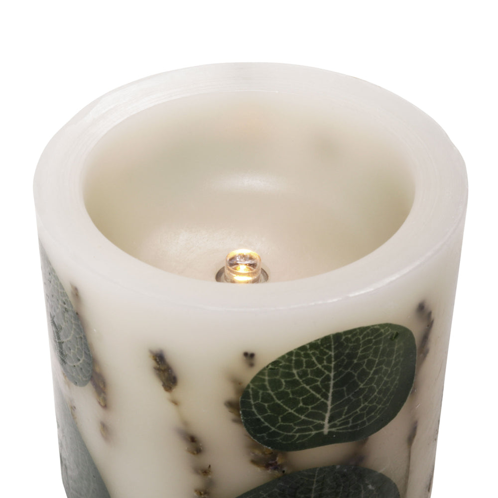 "Matchless Candle Co Push Button 3.5"" x 4"" Pillar LED Candle Spring Eucalyptus Embedded, Lavender Vanilla, Real Wax, Ivory"
