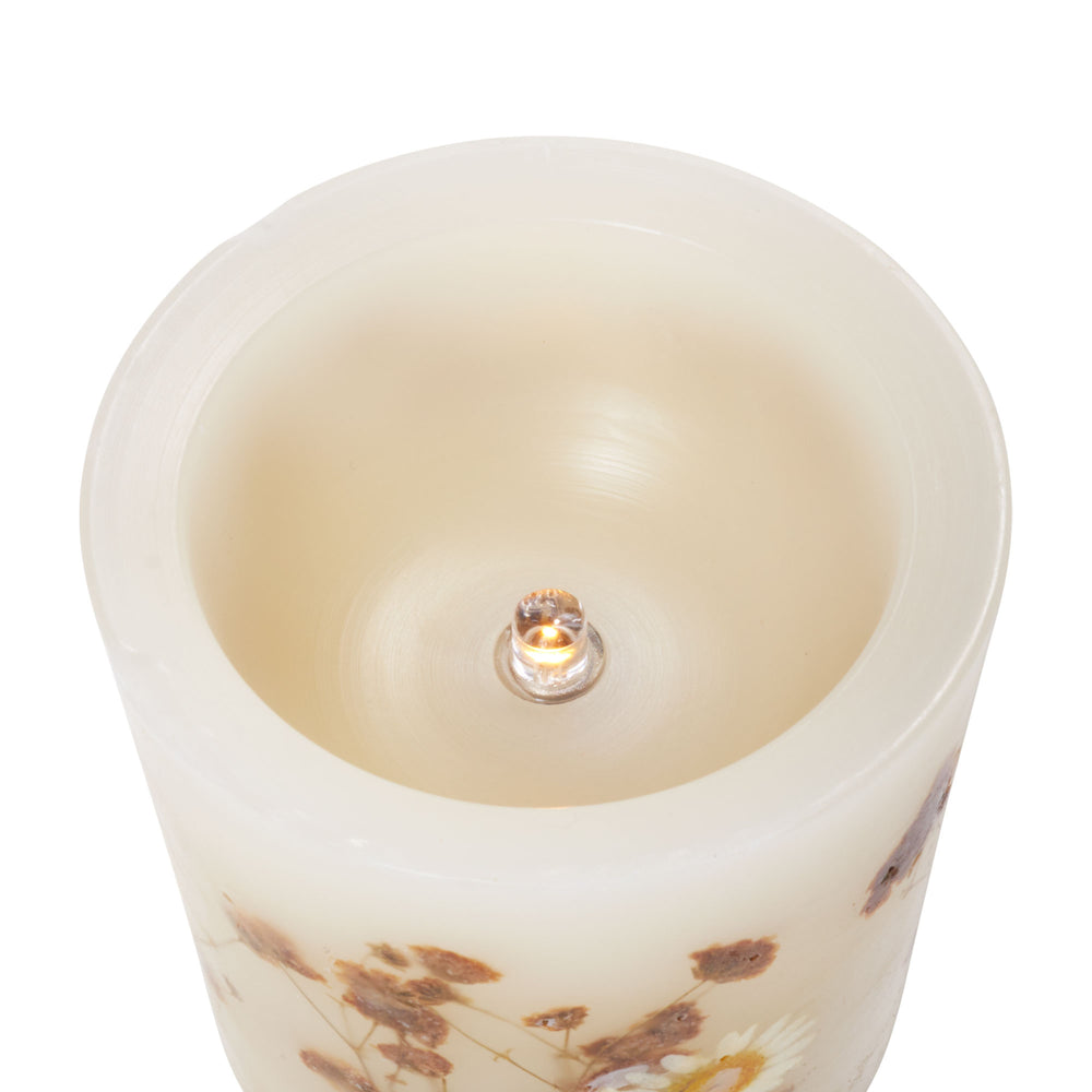 "Matchless Candle Co Push Button 3.5"" x 4"" Pillar LED Candle White Flowers Embedded , White Water Scented, Real Wax"
