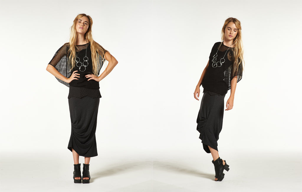 Andy Tunic in Black Mesh, Chevron Tie Tank Top and Long Caterpillar Skirt in Black Nebula
