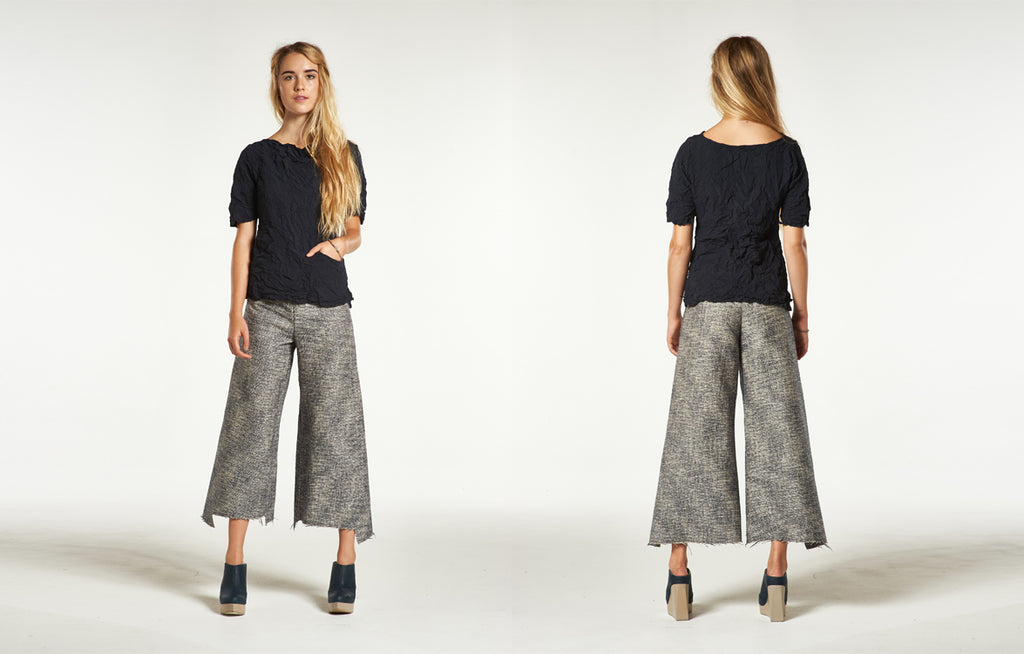 Moth Angelika Top & Step Stitch Crop Pant in Linen Tweed