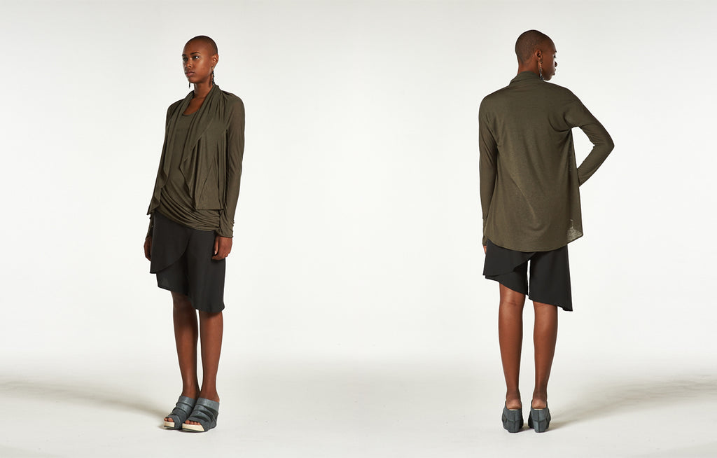 Circle Cardigan and Curve Top in Seaweed, Asymmetrical Skorts and Trippen Juwel Wedges