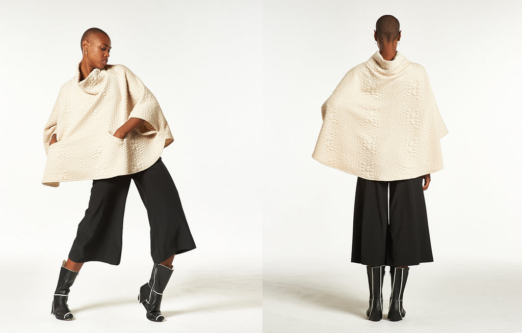 Tortuga Poncho in 3D Bubble, Hepburn Gaucho in Techno Stretch, and Trippen Case Boots