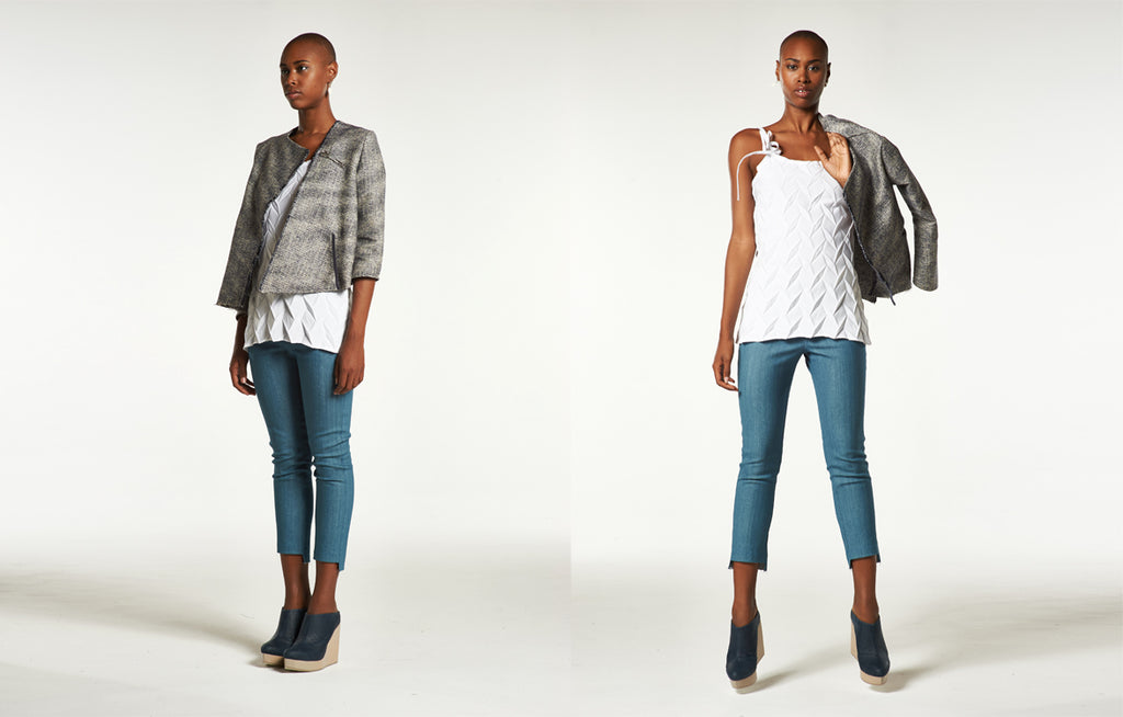 Asymmetrical Jacket in Linen Tweed, Diamond Tie Tank Top, Cropped Raw Legging in Tokyo Denim