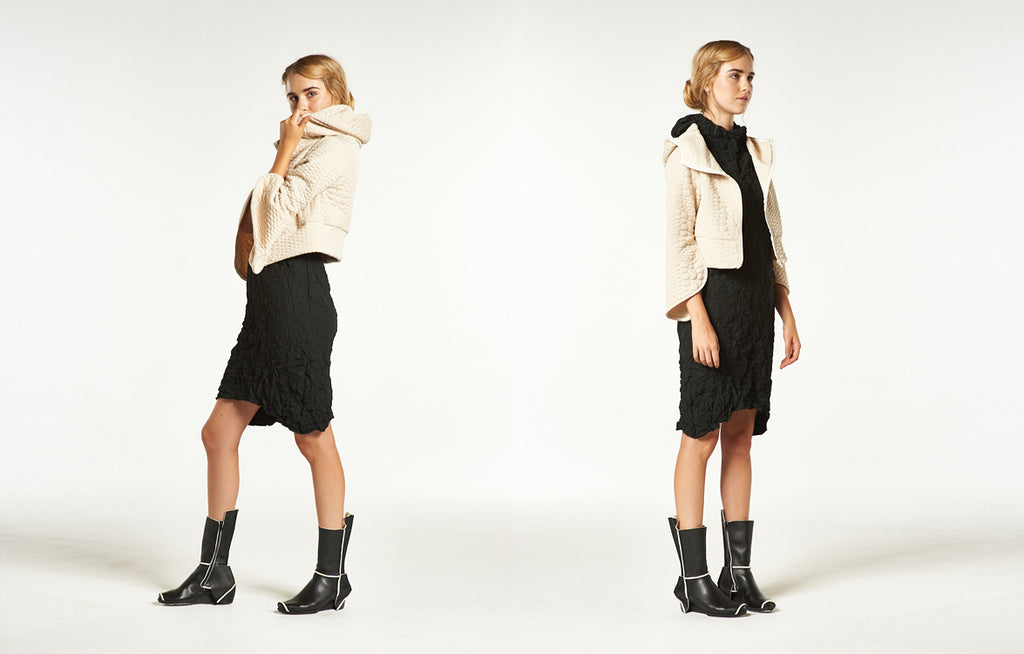 Cropped Zip Tulip Hoodie, Moth Hoodie Dress and Trippen Case Boots
