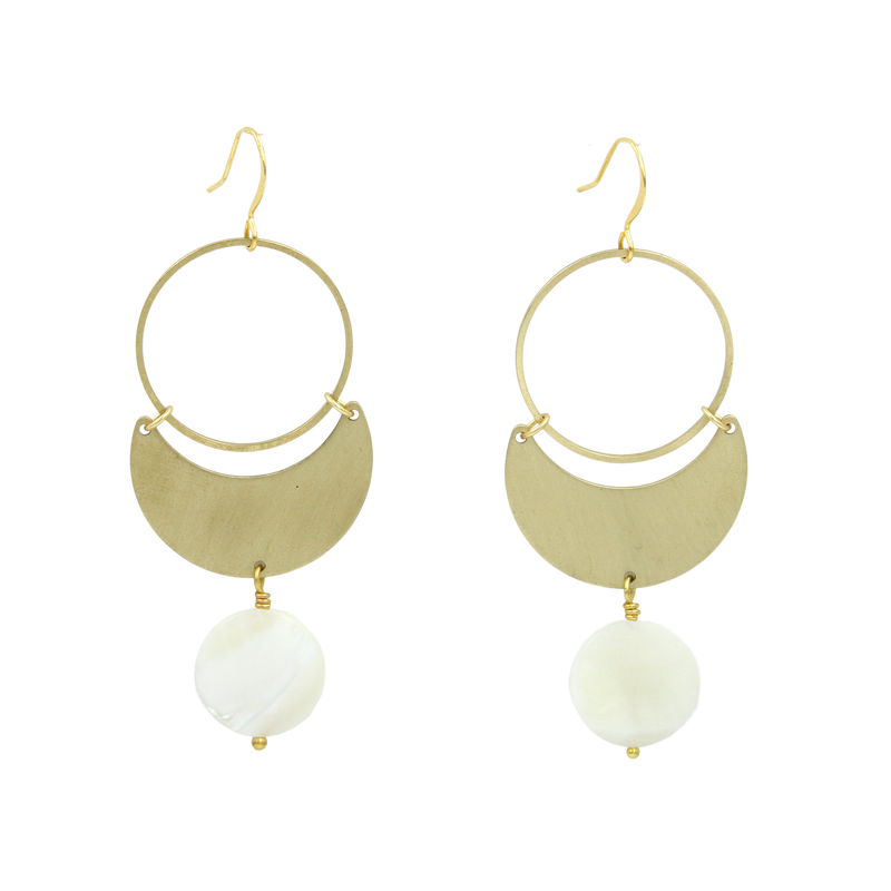 Fiona Brass and Mother of Pearl Drop Earrings