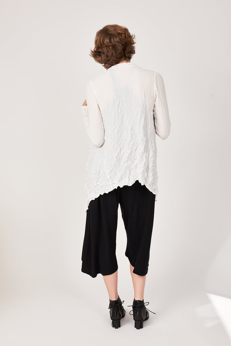 back of white cardigan wrap