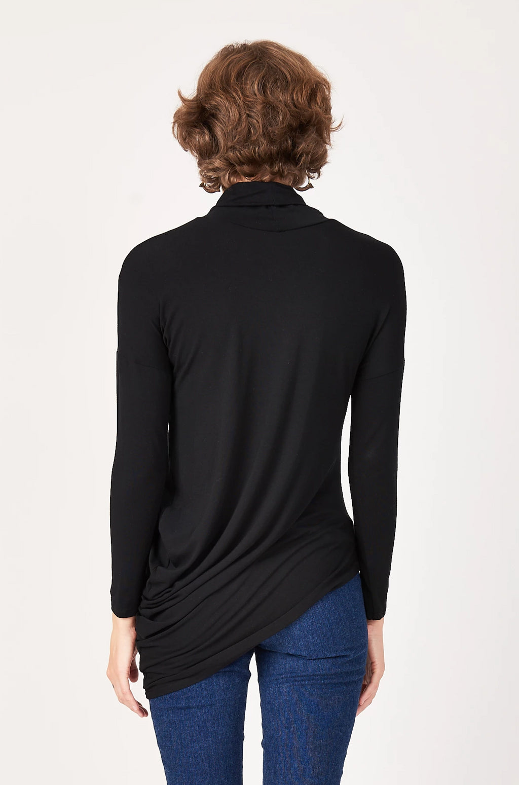 Turtleneck L/S Curve Top in Black Bamboo