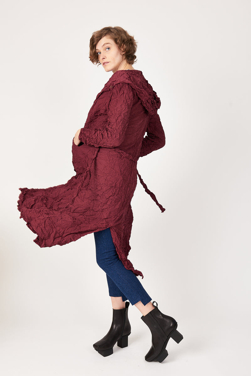 burgundy hooded trench coat