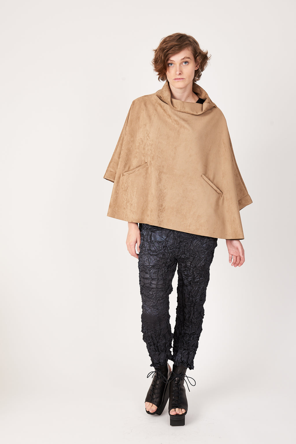 SALE Tortuga Poncho in Camel Luxe Microsuede (Vegan)