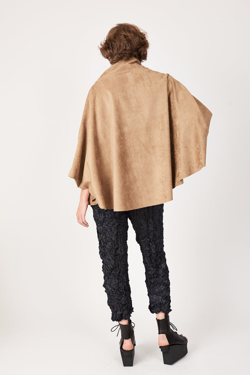 camel microsuede poncho