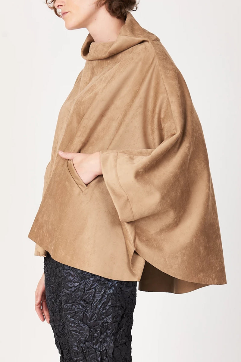 Tortuga Poncho in Camel Luxe Microsuede (Vegan)