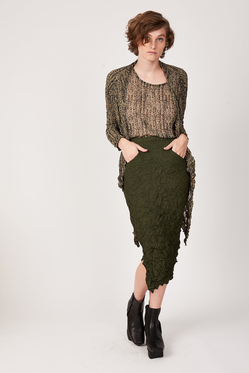Moth Convertible Column Skirt in Olive