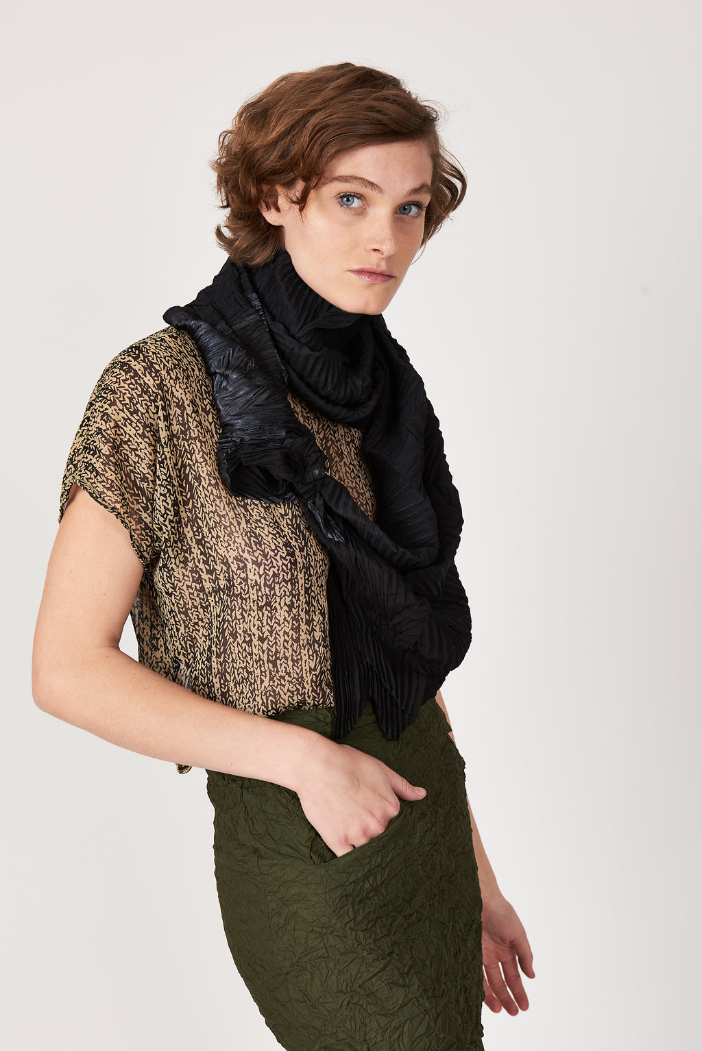 Chaos Pleated Arc Scarf in Mixed Solids