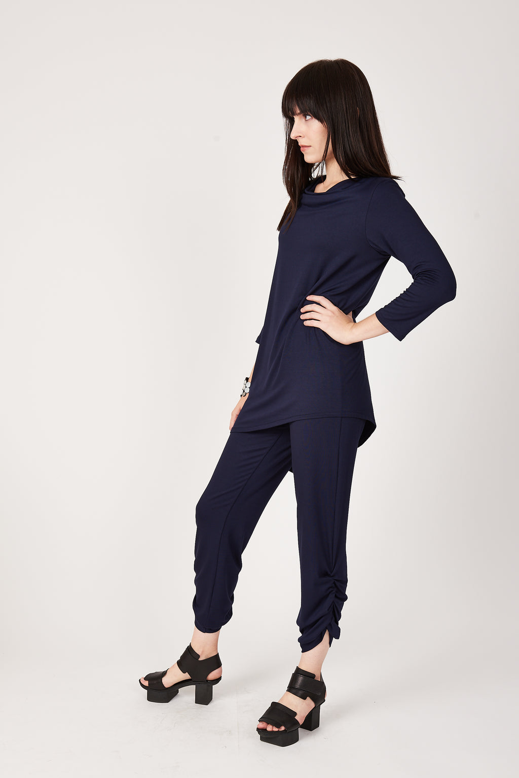 3/4 Sleeve Trapezoid Tunic in Midnight Navy