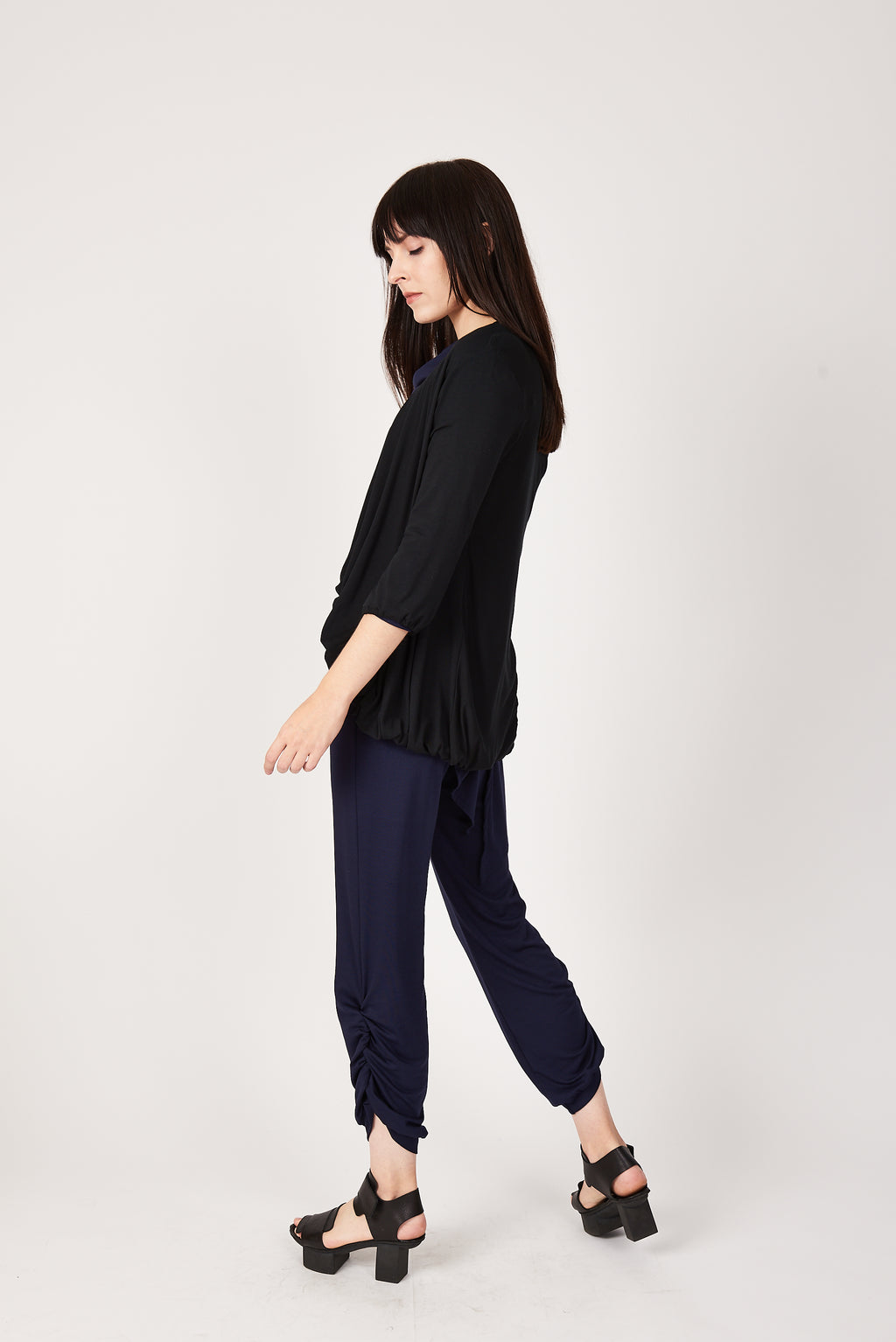 Bubble Cardigan in Black Bamboo Jersey