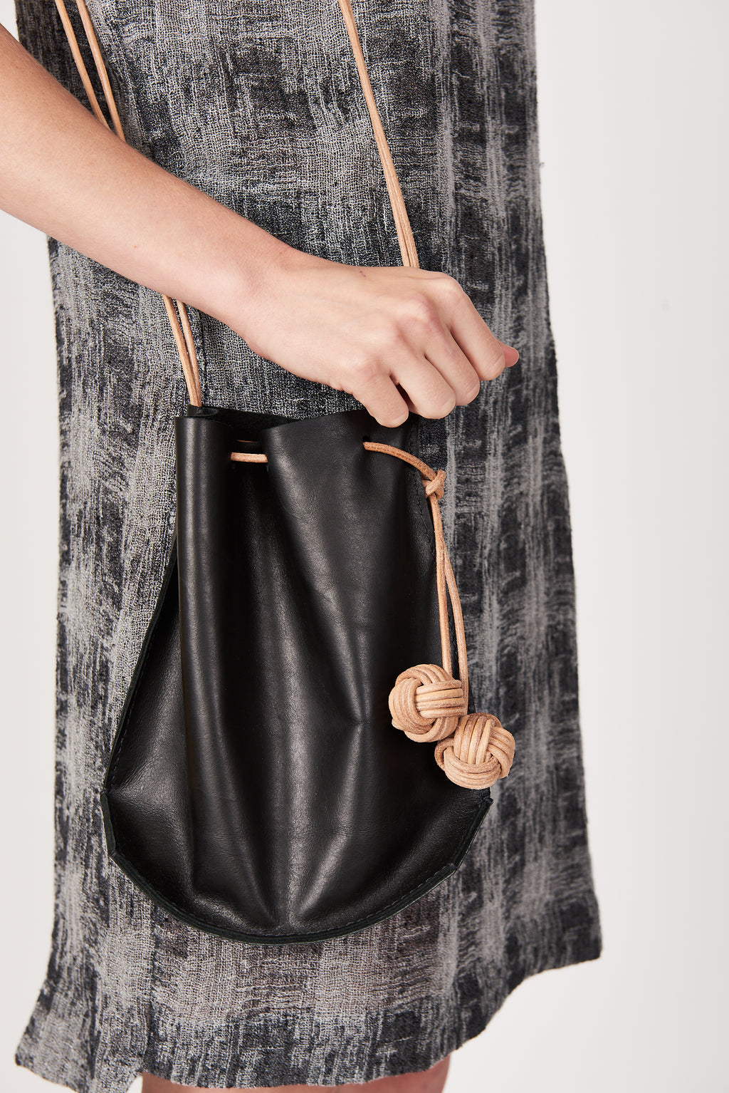 k(not) Bucket Bag in Black/Veg Tan Strap