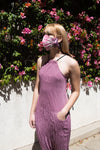 Twisted Berlin Jumpsuit in Lavender Rose Shimmer